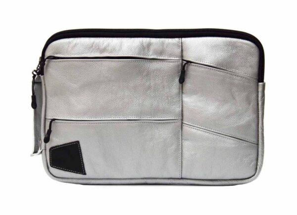 Чехол для MacBook серебристый из натуральной кожи Kerdis